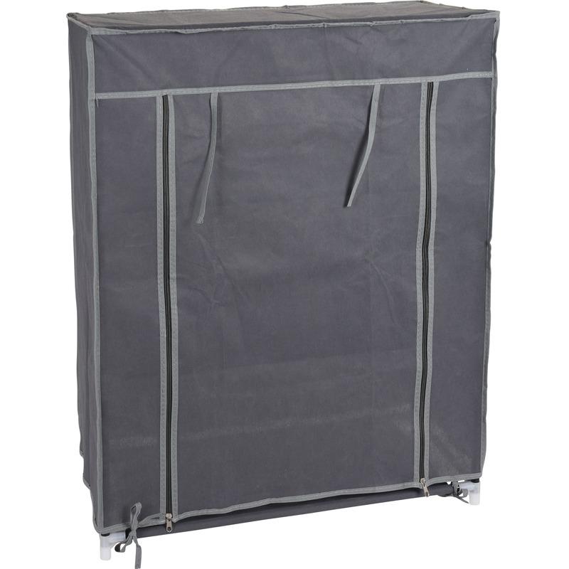 3x stuks mobiele opvouwbare kledingkasten met grijze hoes 80 x 60 cm