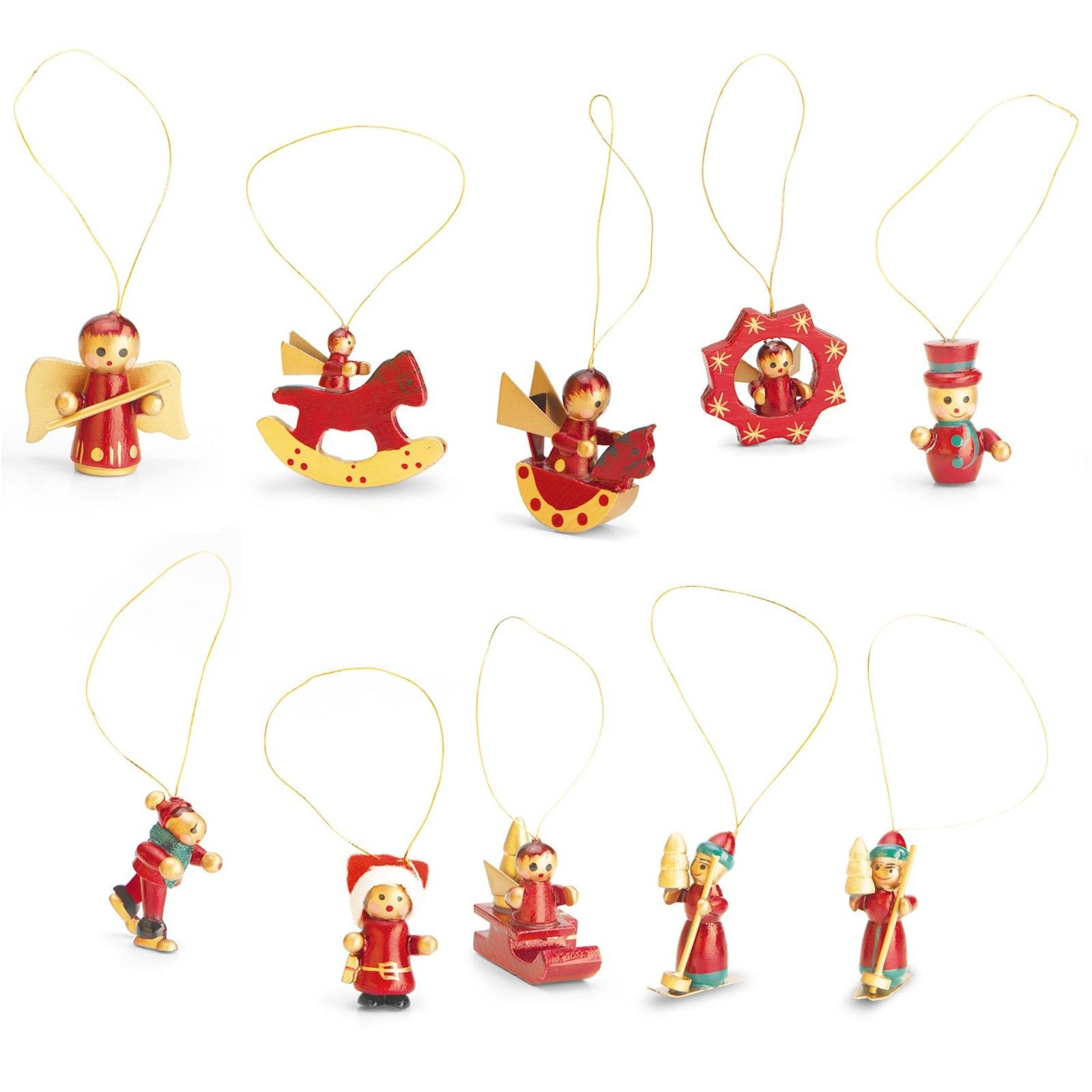 3x stuks set met 12 houten kerstboomhangers 4 cm