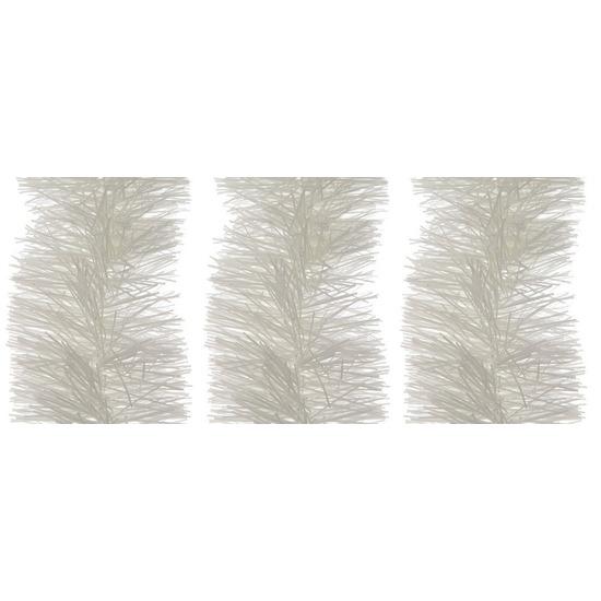 3x Winter witte kerstslinger 10 cm breed x 270 cm versiering
