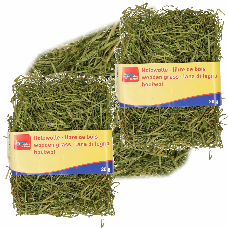 3x zakjes groen kleur houtwol 20 gram vulmateriaal-vulling