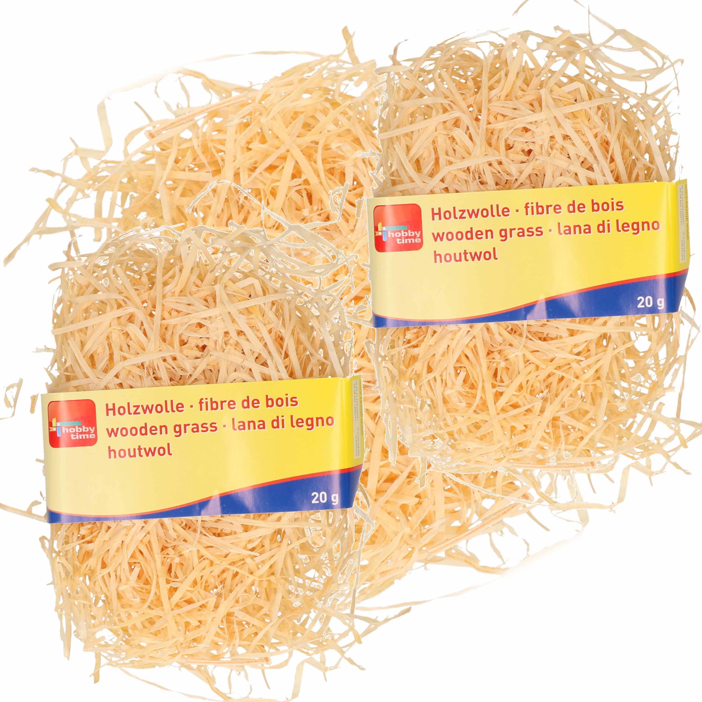 3x zakjes naturel kleur houtwol 20 gram vulmateriaal-vulling
