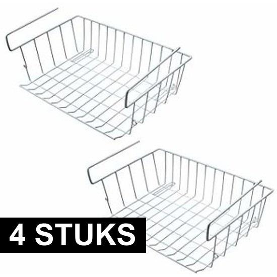 4x Kast opberg-opruim mandjes van staal 42 X 27 cm