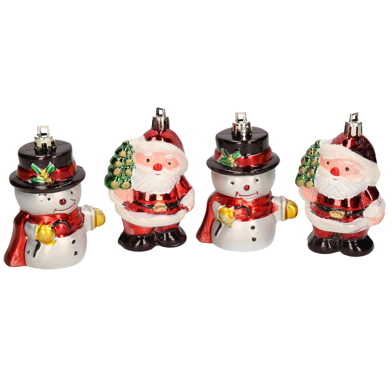 4x Kersthangers figuurtjes sneeuwpop en kerstman kunststof 7,5 cm