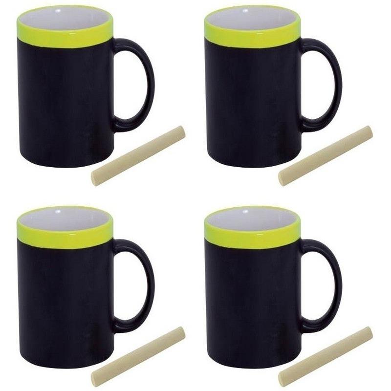 4x Krijt mokken in het geel beschrijfbare koffie-thee mok