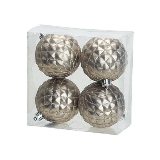 4x Luxe zilveren kunststof kerstballen 8 cm kerstboomversiering