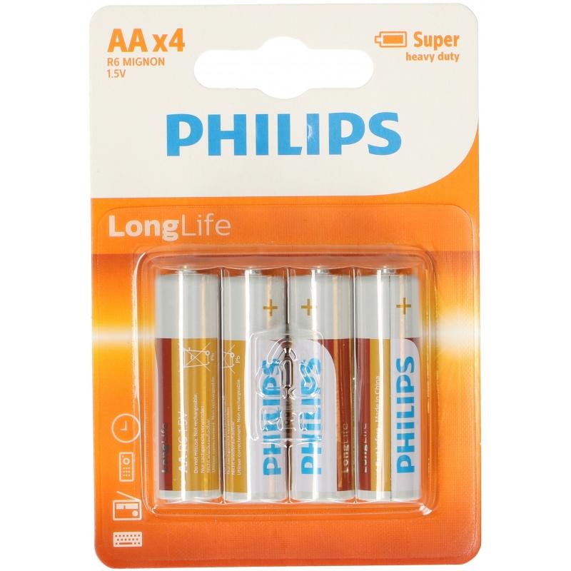 4x Philips AA batterijen