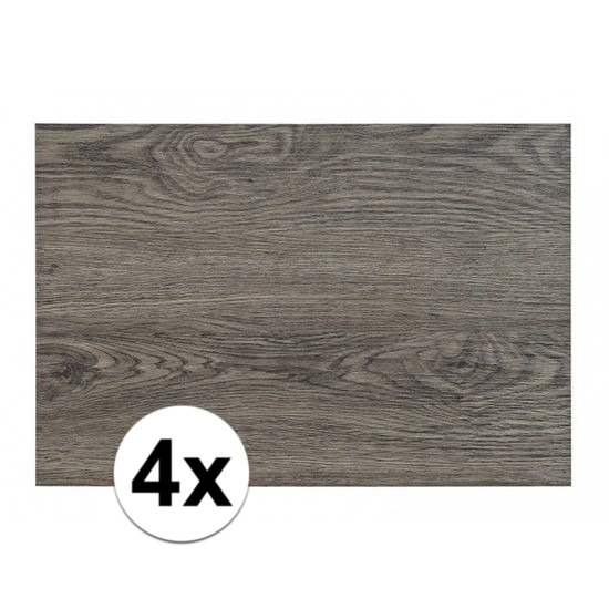 4x Placemats in donkergrijs woodlook print 45 x 30 cm