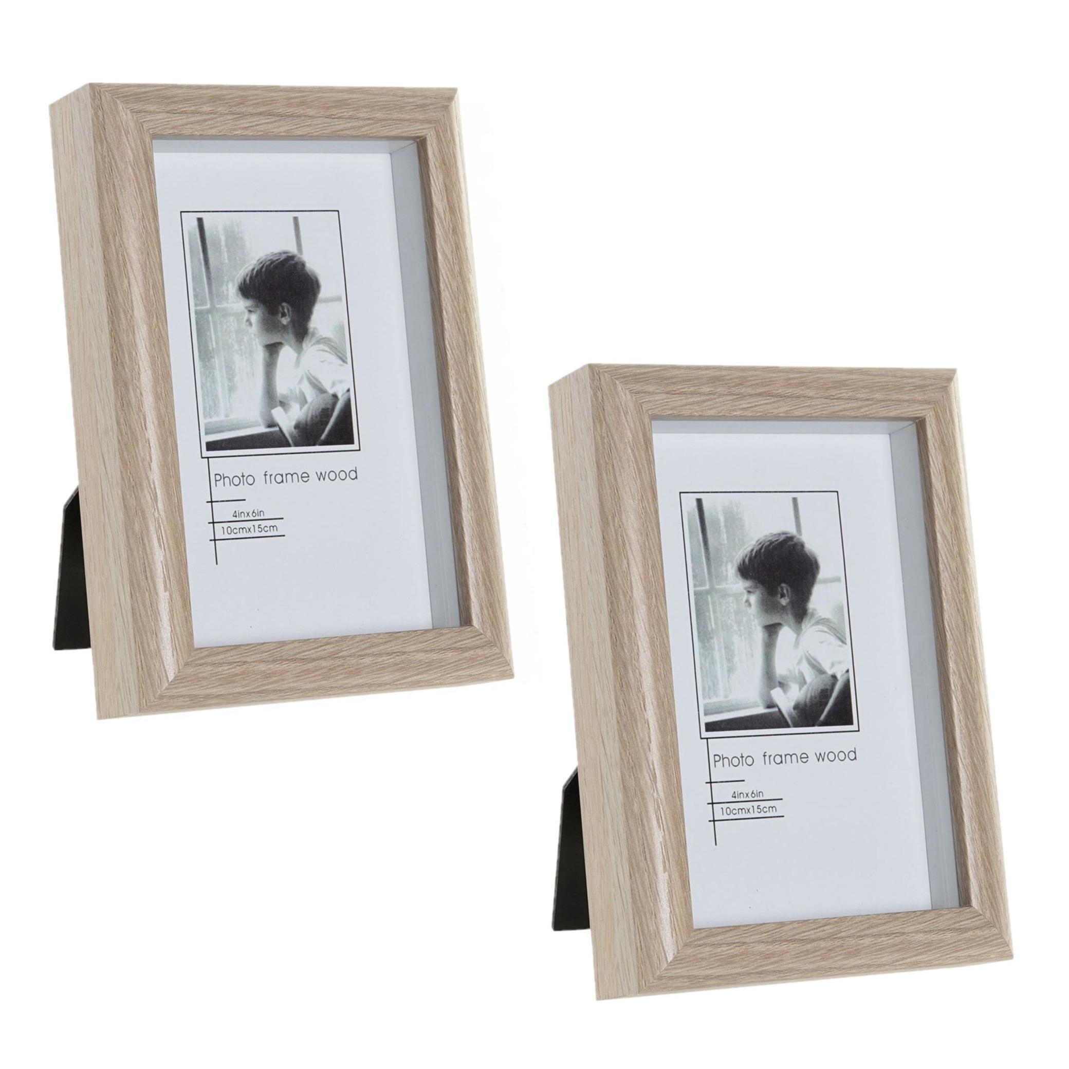 4x stuks fotolijstjes hout geschikt voor een foto van 10 x 15 cm