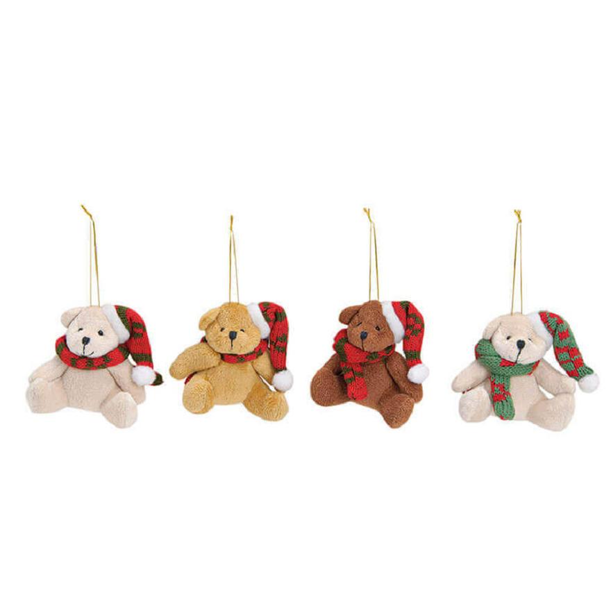4x Stuks kersthangers knuffelbeertjes met sjaal om 7 cm