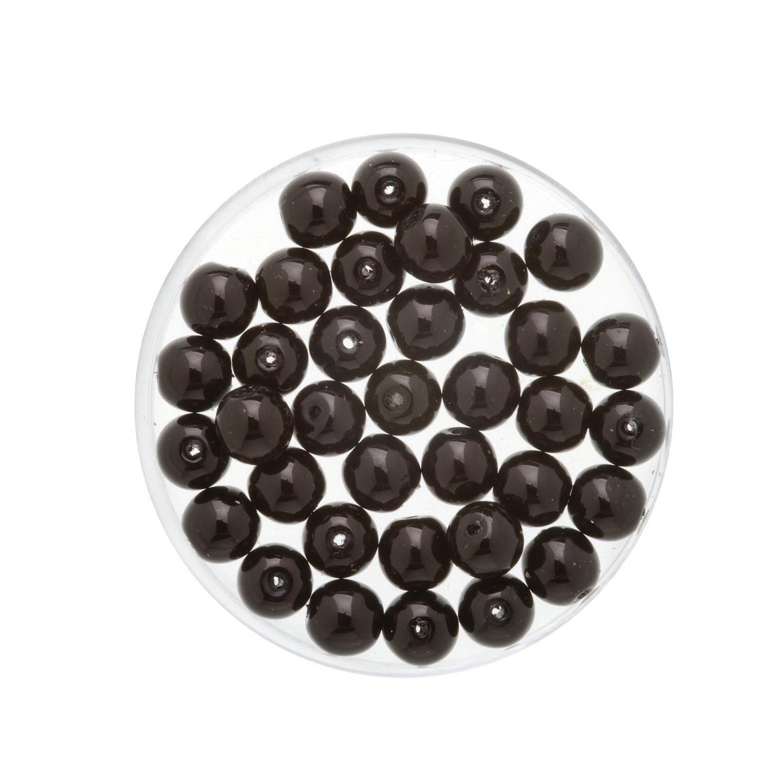 50x stuks sieraden maken Boheemse glaskralen in het transparant zwart van 6 mm