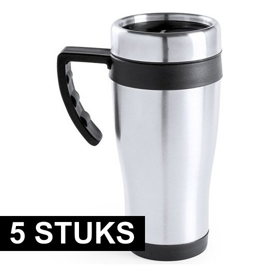 5x RVS thermosbekers-warm houd bekers zwart 500 ml