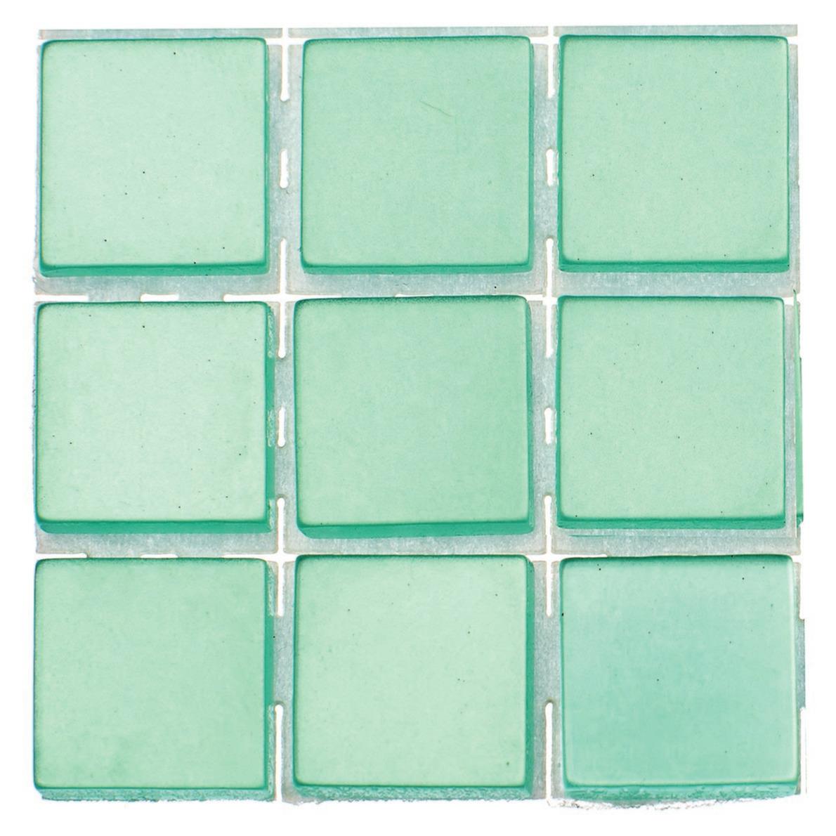 63x stuks mozaieken maken steentjes-tegels kleur turquoise 10 x 10 x 2 mm