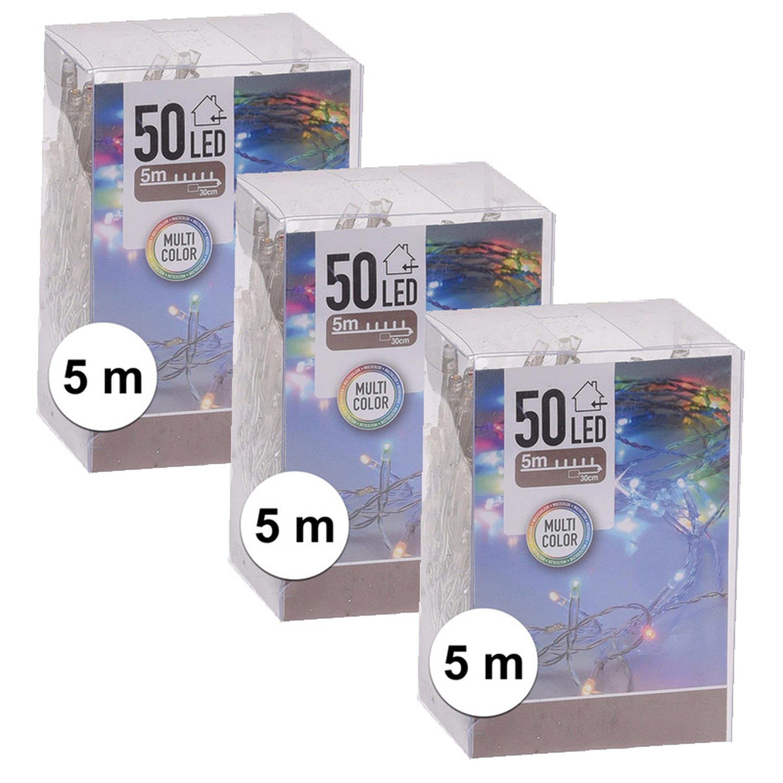 6x Kerstverlichting op batterij gekleurd 50 lampjes