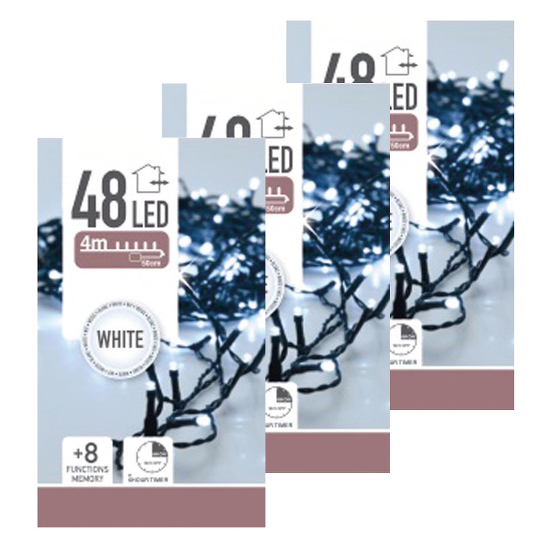 6x Kerstverlichting op batterij helder wit buiten 48 lampjes