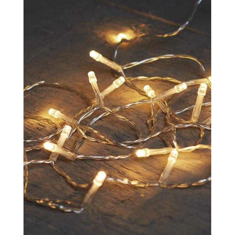 6x Kerstverlichting op batterijen warm wit 40 lampjes 400 cm