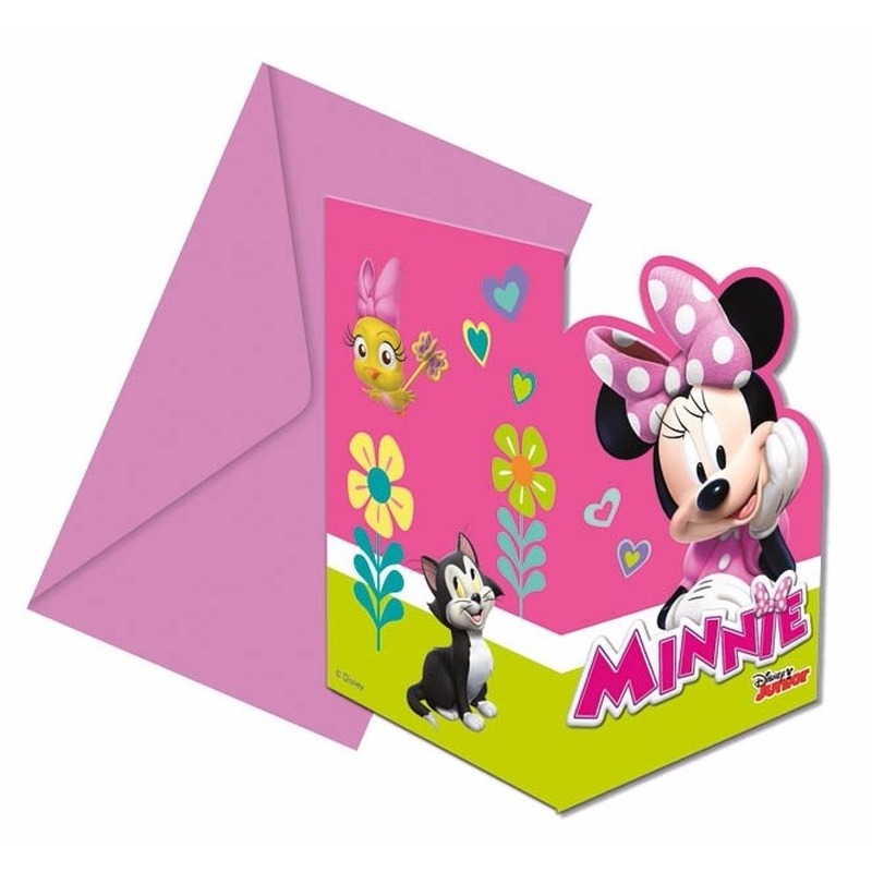 6x Minnie Mouse uitnodigingen voor uw feestje