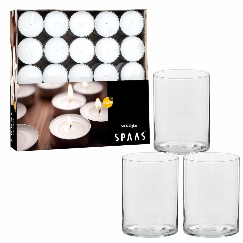 6x stuks hoge theelichthouder-waxinelichthouder van glas met 50 kaarsjes
