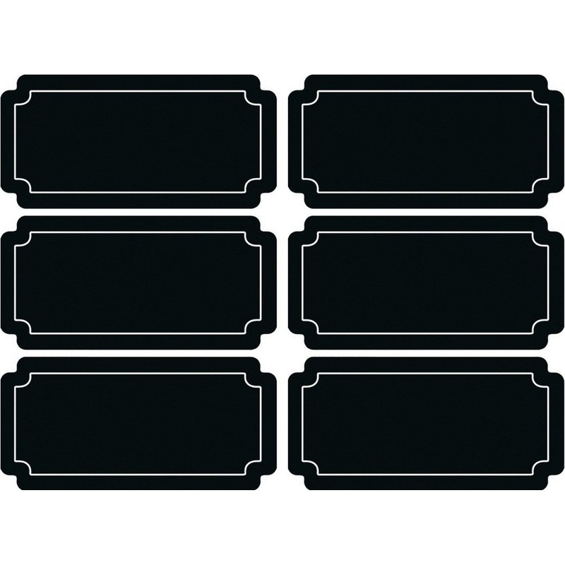 6x stuks Krijtbord voorraadkast etiketten-stickers rechthoekig