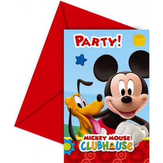 6x stuks Mickey Mouse thema verjaardag uitnodigingen