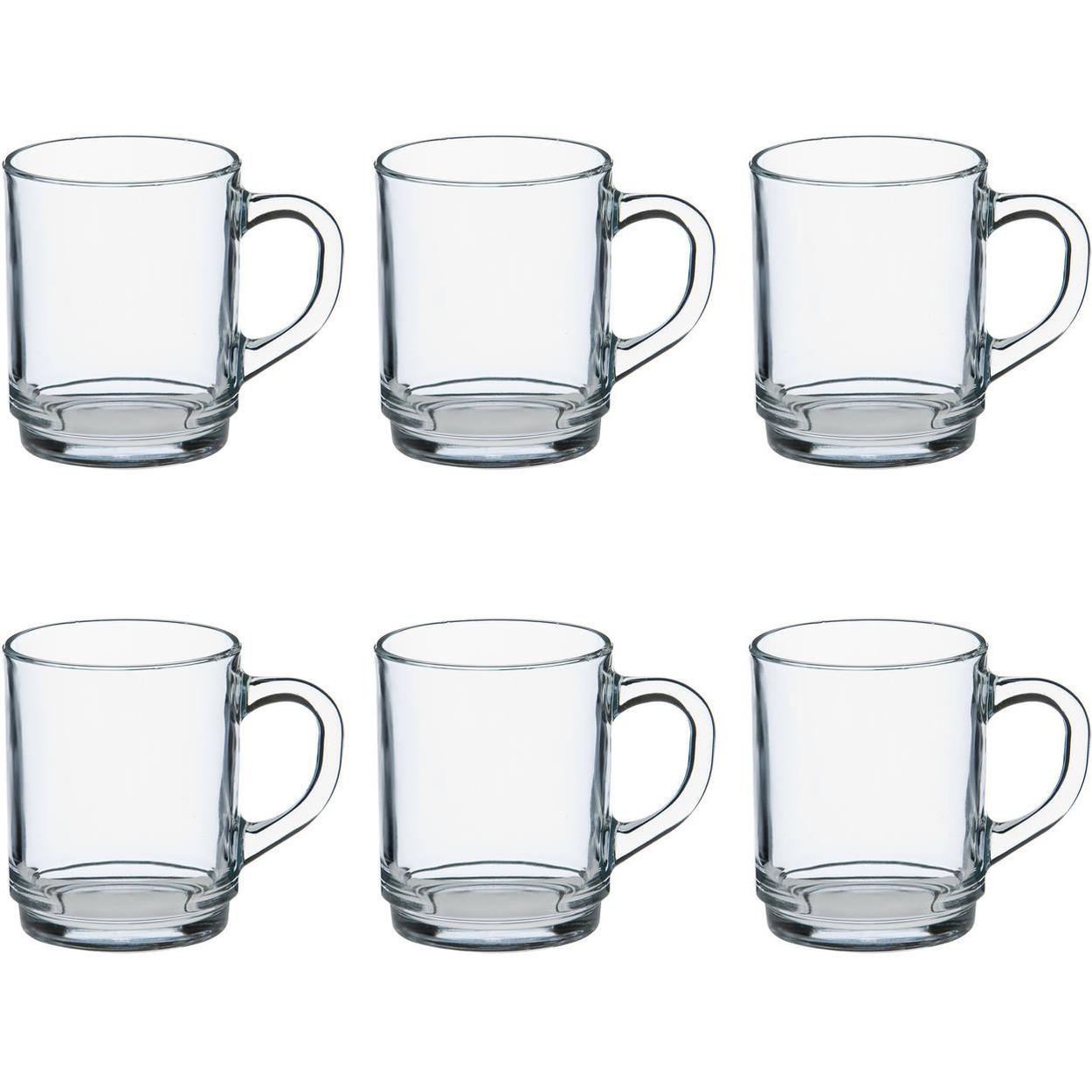 6x Theeglazen-koffieglazen transparant 260 ml Versailles