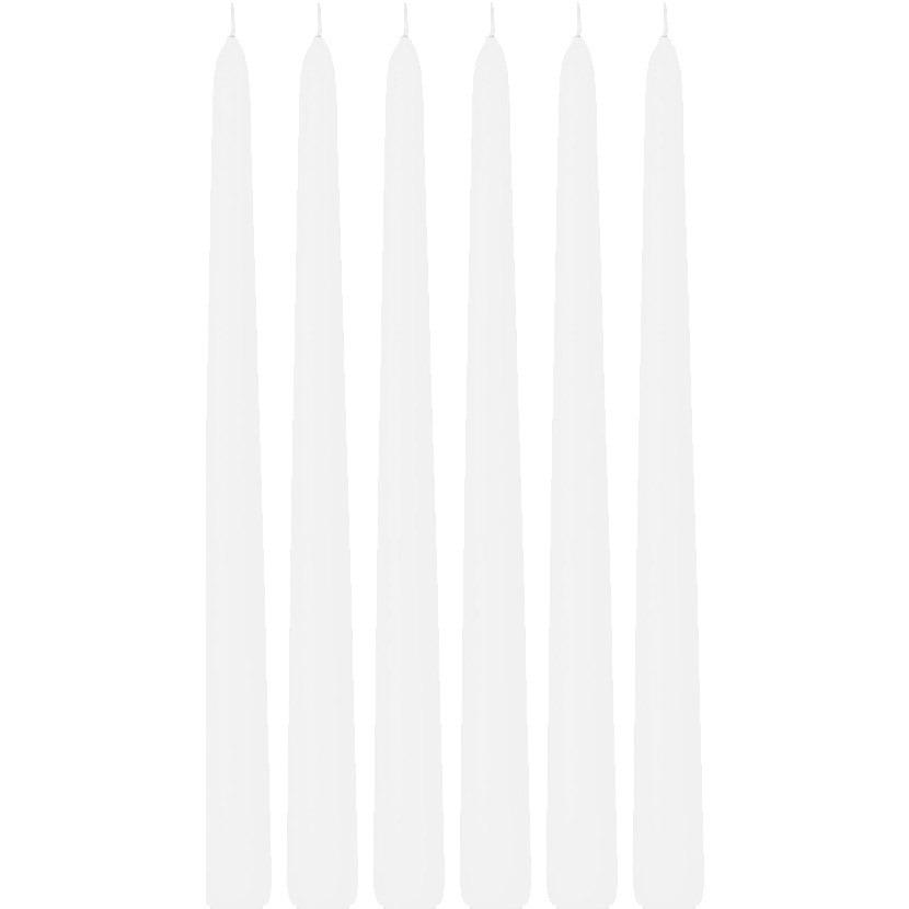 6x Witte dinerkaarsen 30 cm 13 branduren