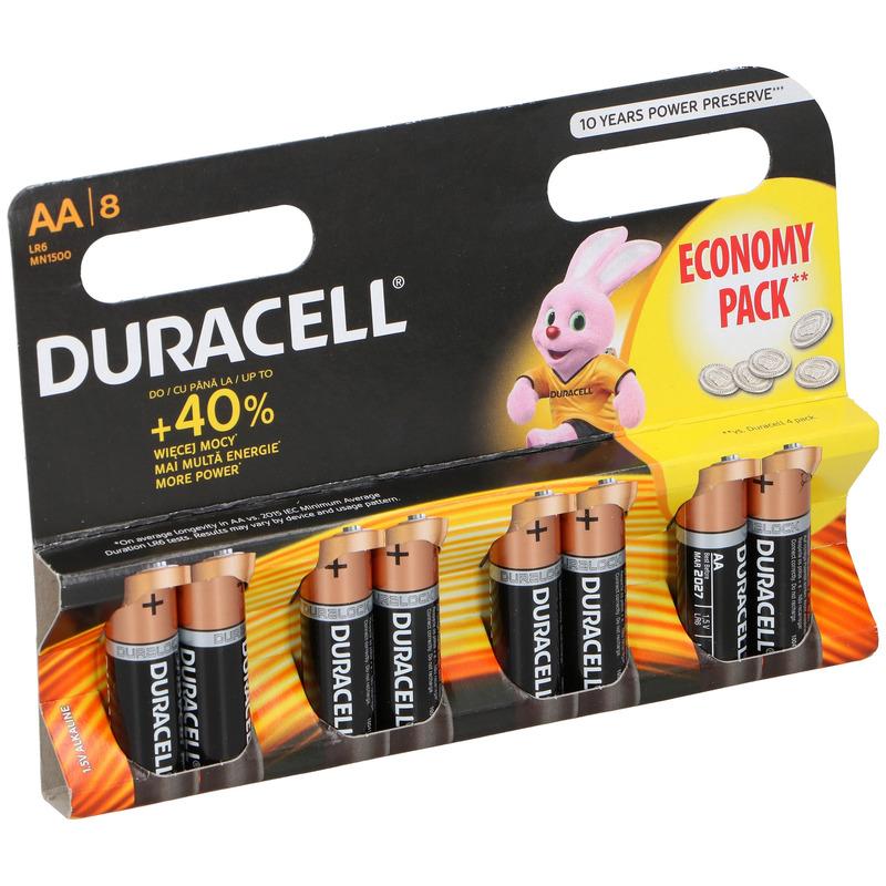 8x Duracell alkaline batterijen AA 1.5 V