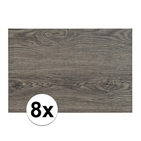8x Placemats in donkergrijs woodlook print 45 x 30 cm