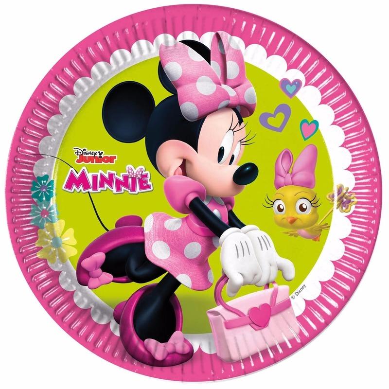 8x stuks kartonnen Minnie Mouse thema verjaardag bordjes 23 cm