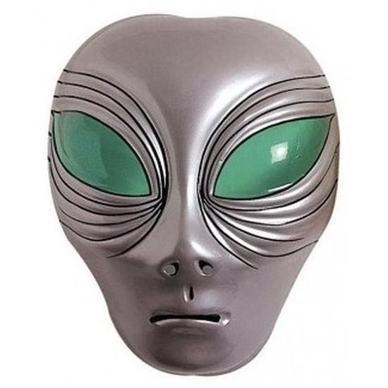 Alien verkleed masker zilver voor volwassenen