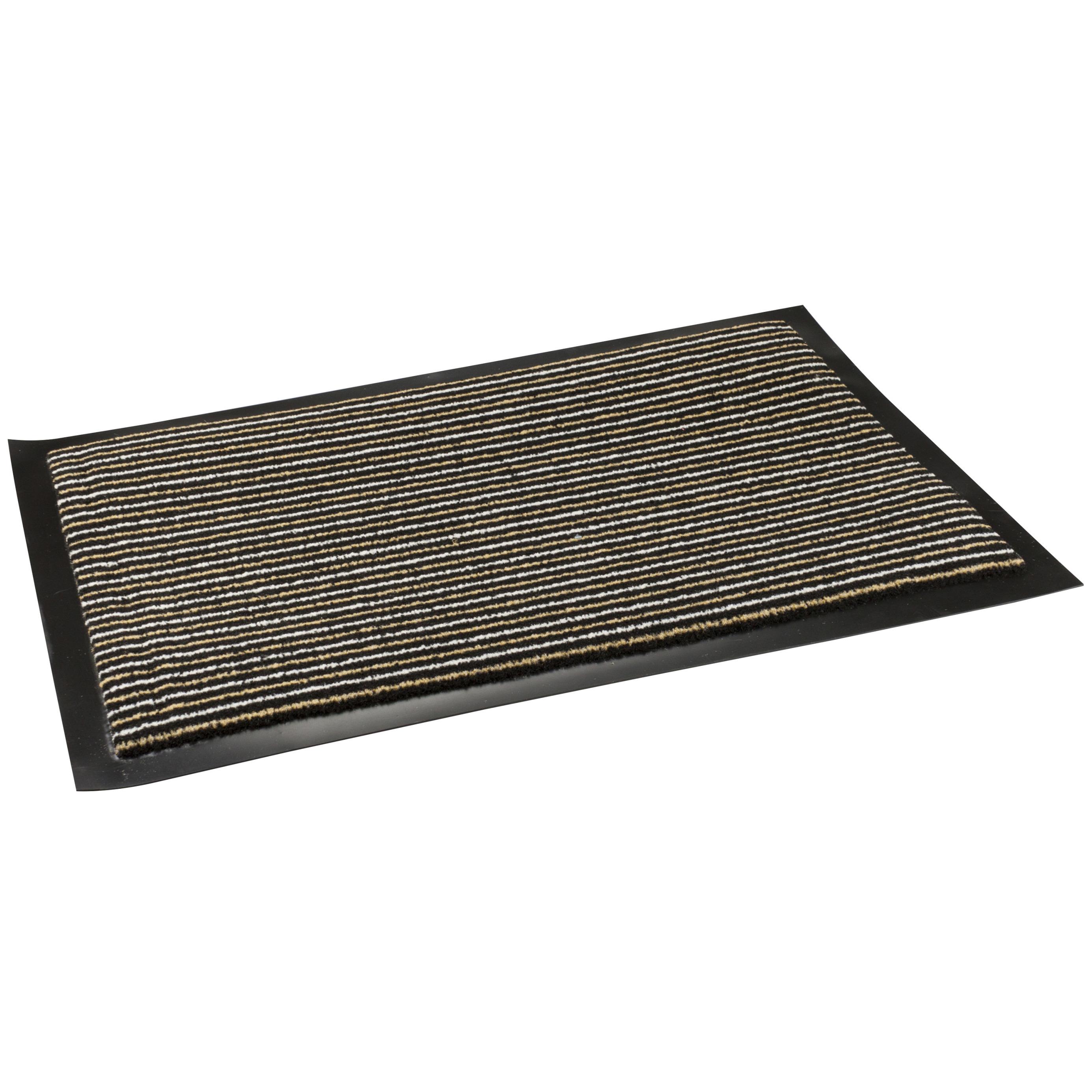 Anti slip deurmat-schoonloopmat pvc bruin 60 x 40 cm voor binnen