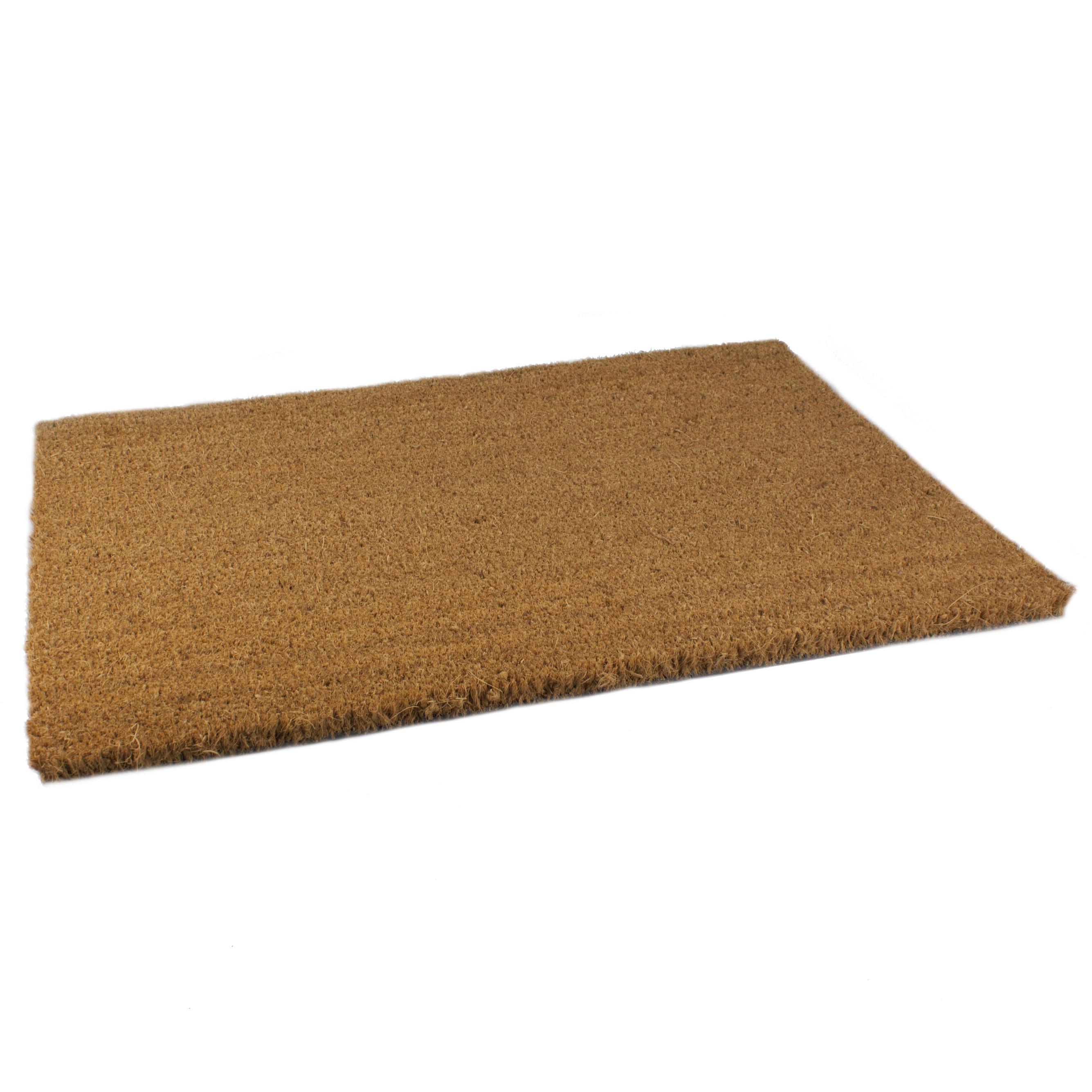 Anti sllip deurmat-vloermat pvc-kokos bruin 60 x 40 cm voor binnen
