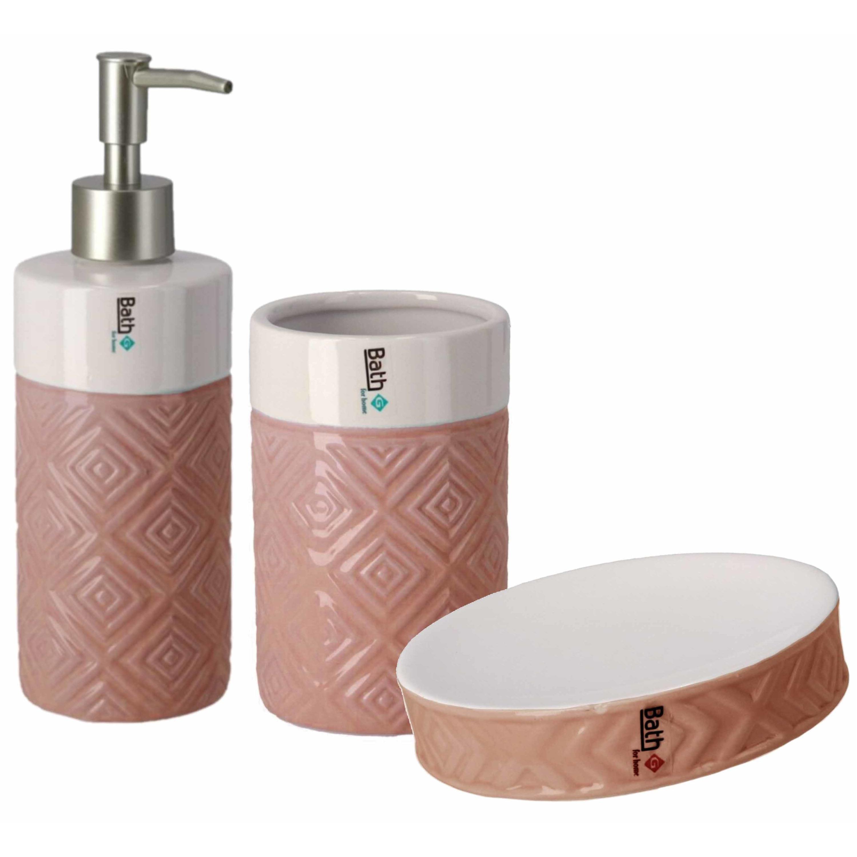 Badkamerset met zeeppompje beker en zeepschaaltje roze-wit keramiek
