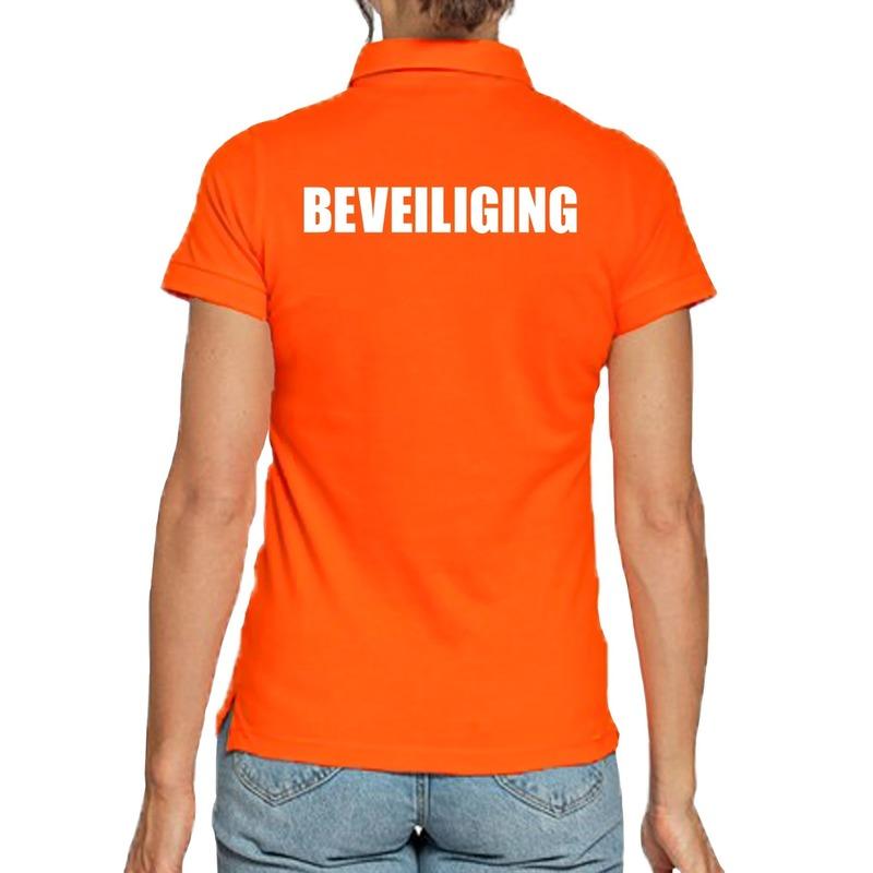 Beveiliging poloshirt oranje voor dames