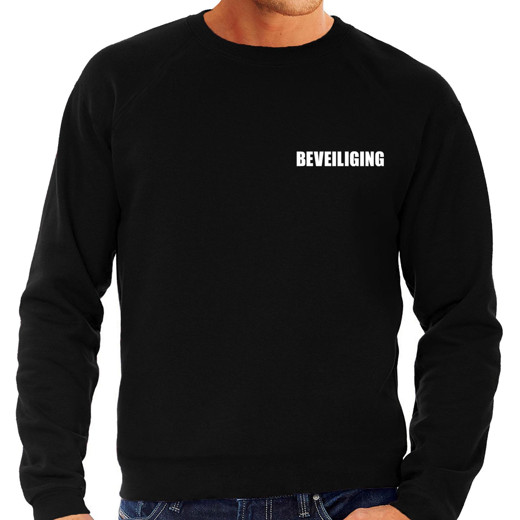 Beveiliging tekst grote maten sweater-trui zwart heren