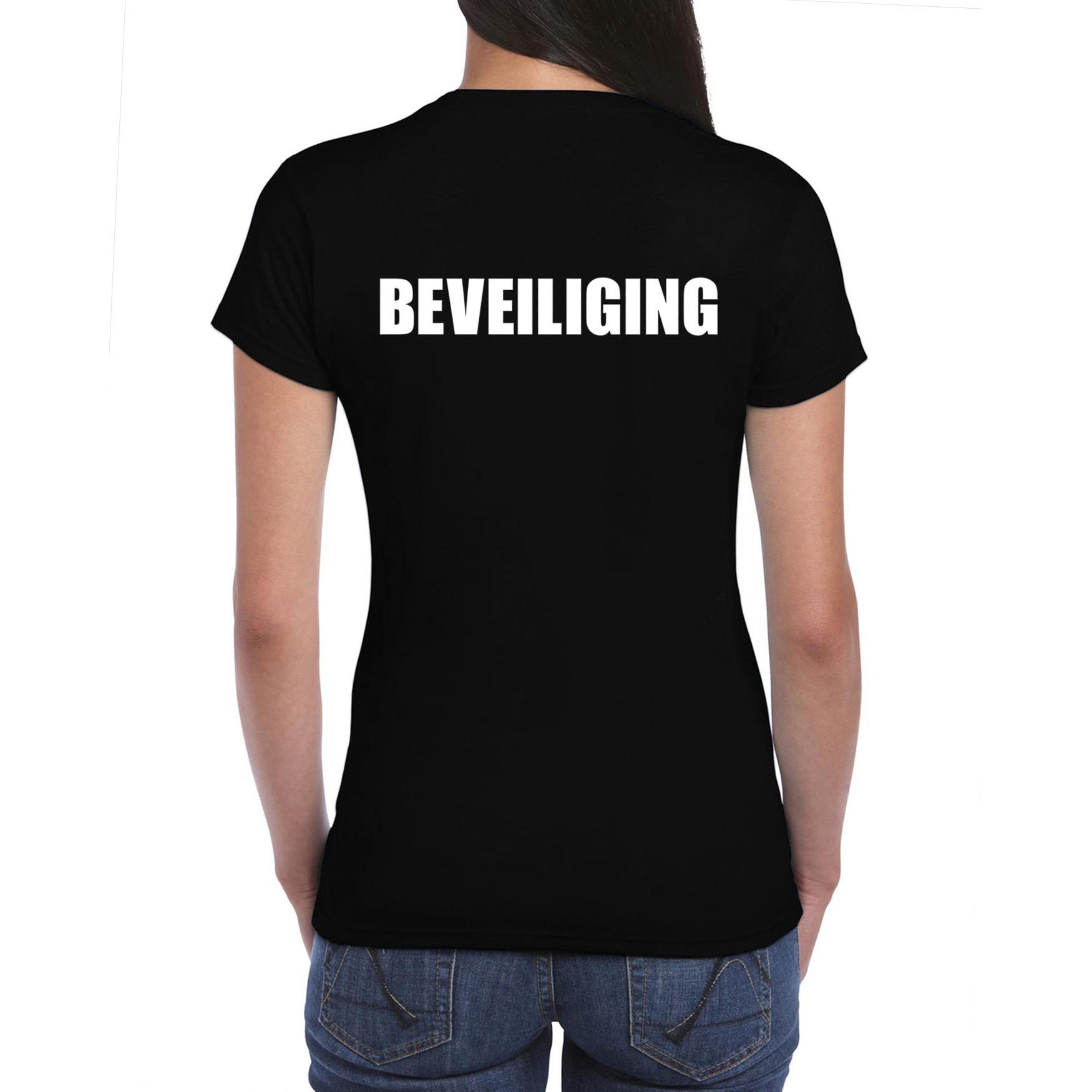 Beveiliging tekst t-shirt zwart dames
