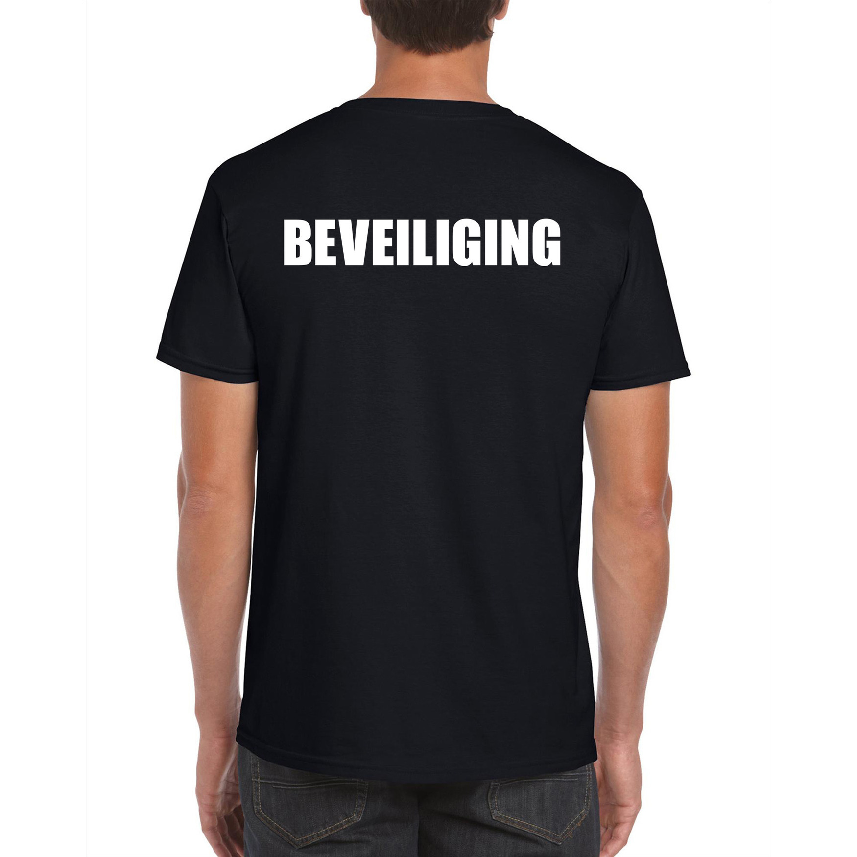 Beveiliging tekst t-shirt zwart heren