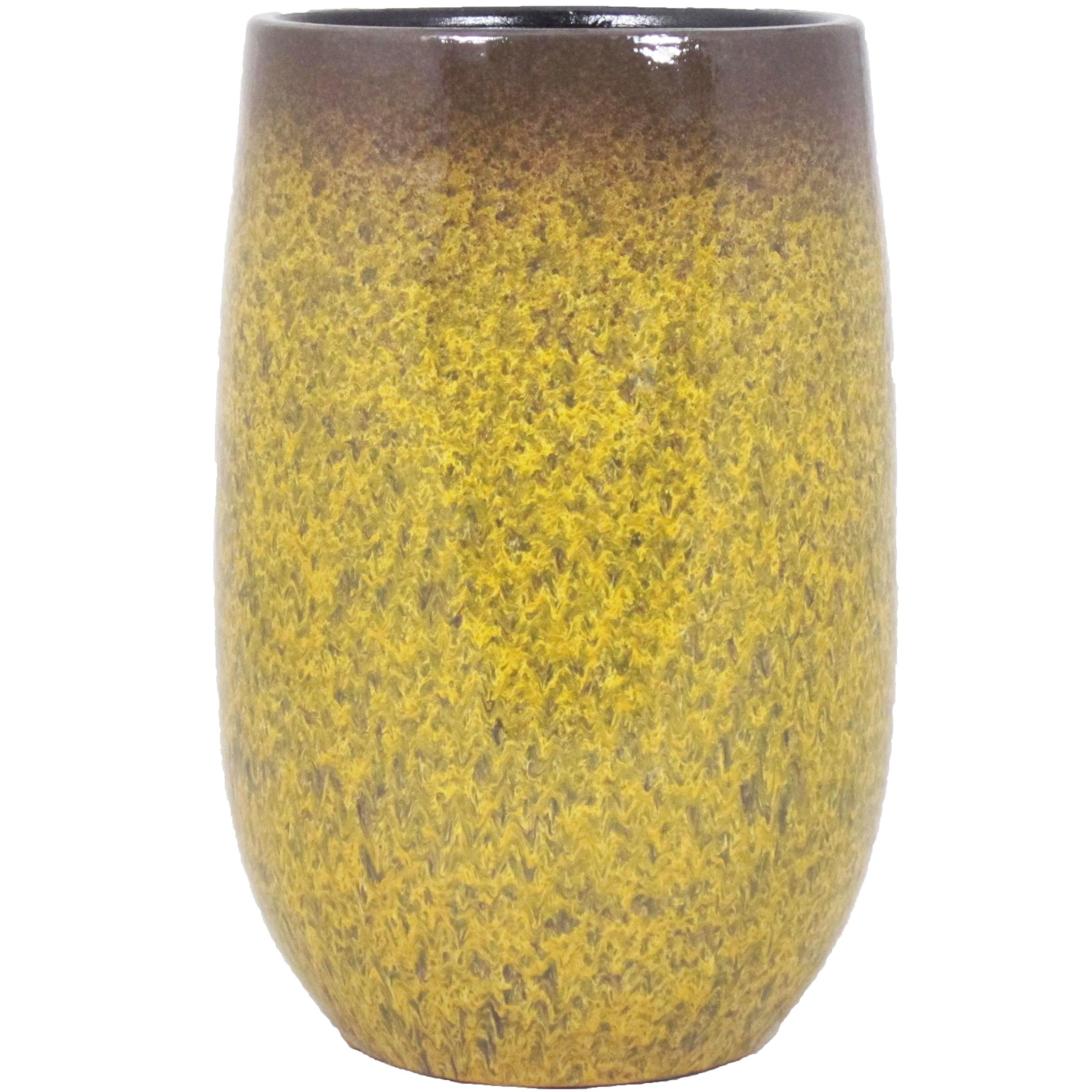 Bloempot vaas goud geel flakes keramiek voor bloemen-planten H30 x D19 cm