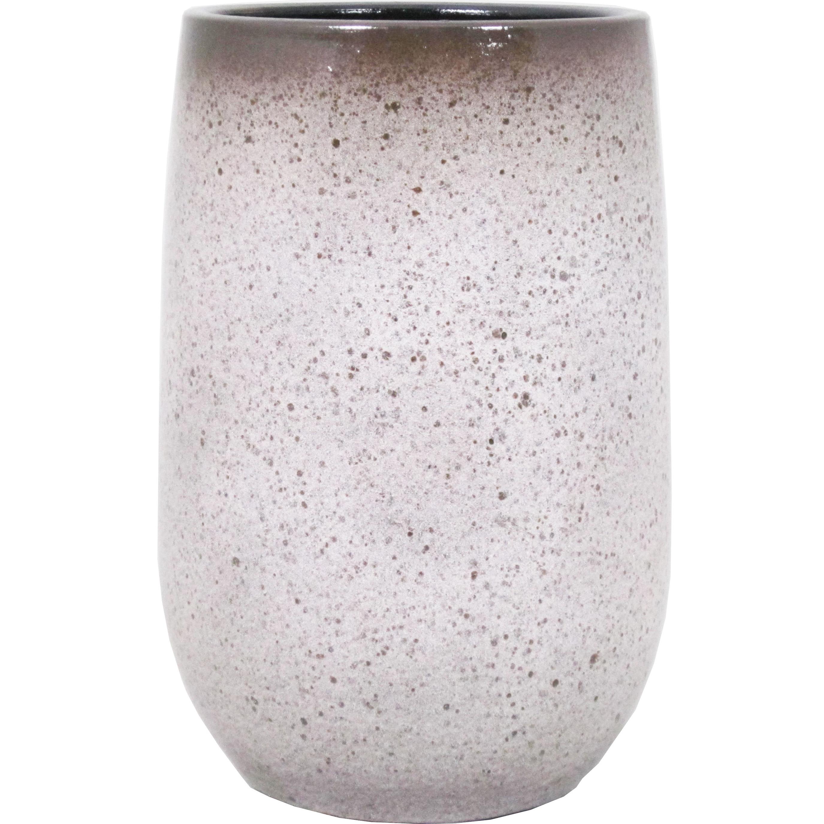 Bloempot vaas mat wit flakes keramiek voor bloemen-planten H30 x D19 cm
