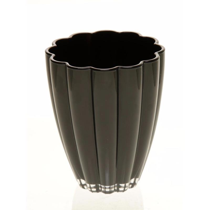 Bloemvorm vaas zwart glas 17 cm