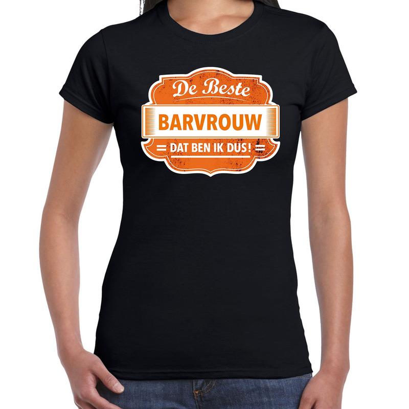 Cadeau t-shirt voor de beste barvrouw zwart voor dames
