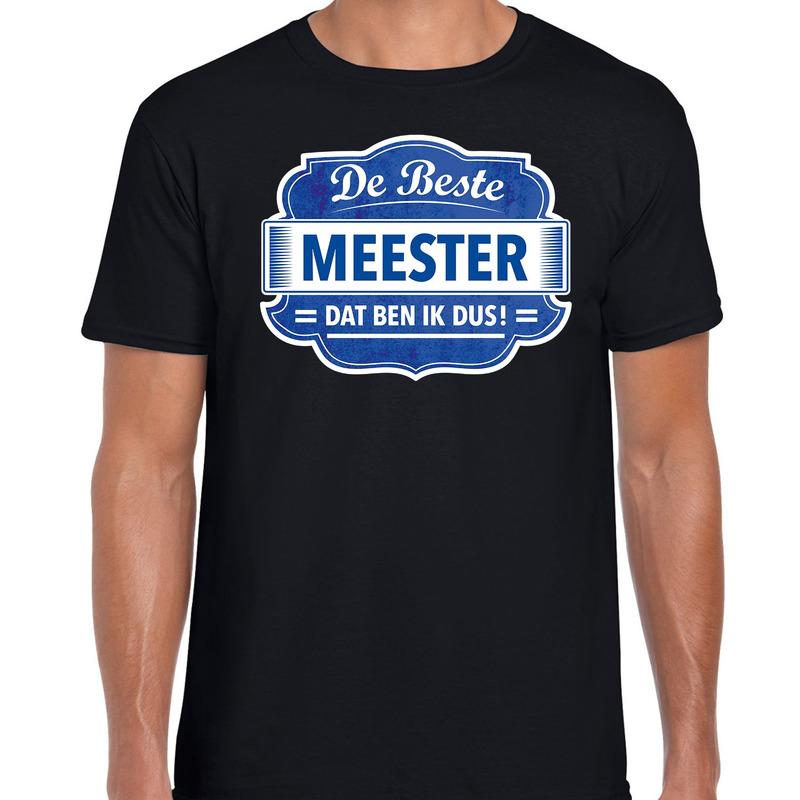 Cadeau t-shirt voor de beste meester zwart voor heren