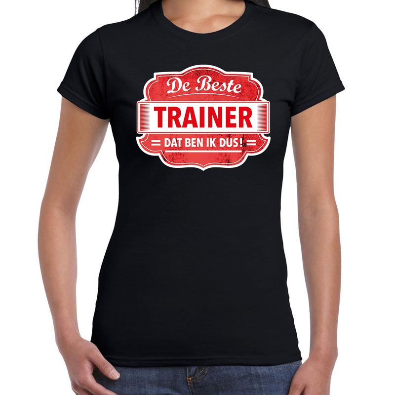 Cadeau t-shirt voor de beste trainer zwart voor dames