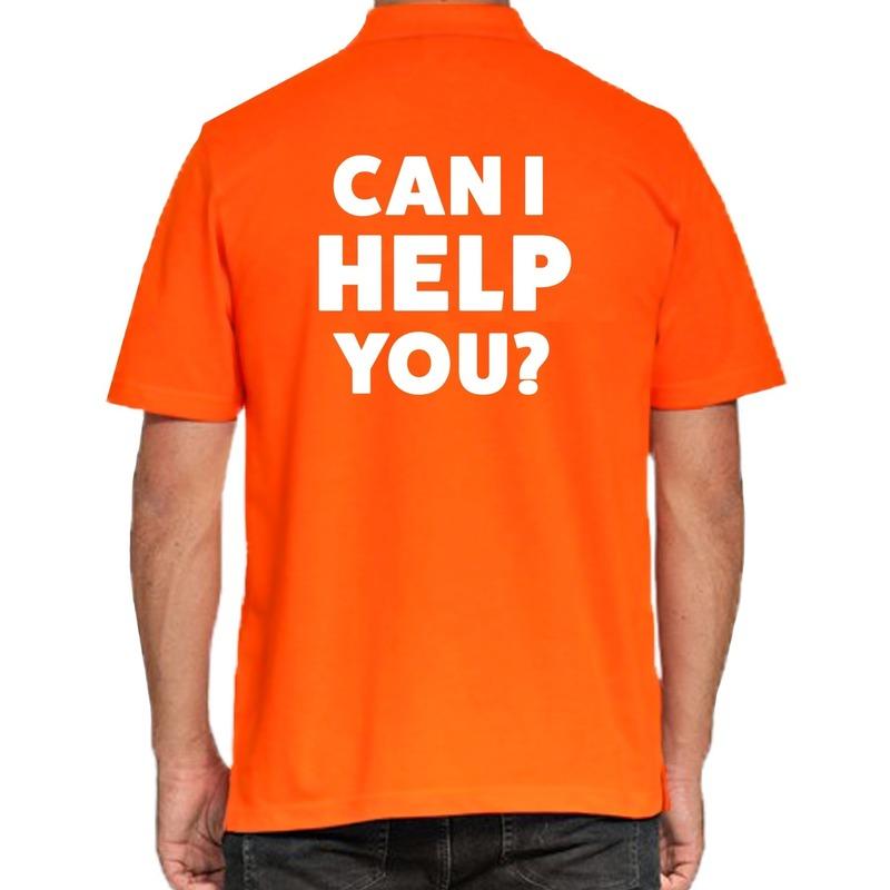 Can i help you beurs-evenementen polo shirt oranje voor heren