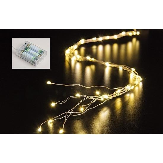 Cascade draadverlichting 40 warm witte lampjes op batterij