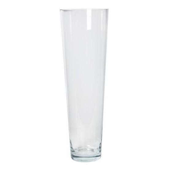 Conische vaas helder glas 22 x 70 cm