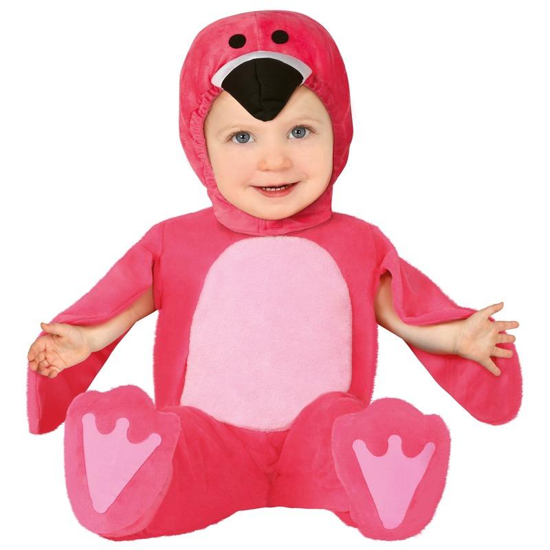 Dierenpak flamingo verkleed kostuum voor baby-peuter 12-24 mnd