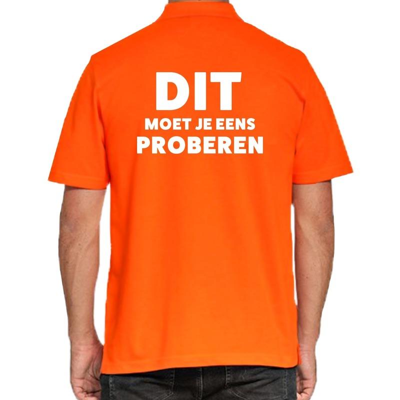 Dit moet je eens proberen beurs-evenementen polo shirt oranje vo