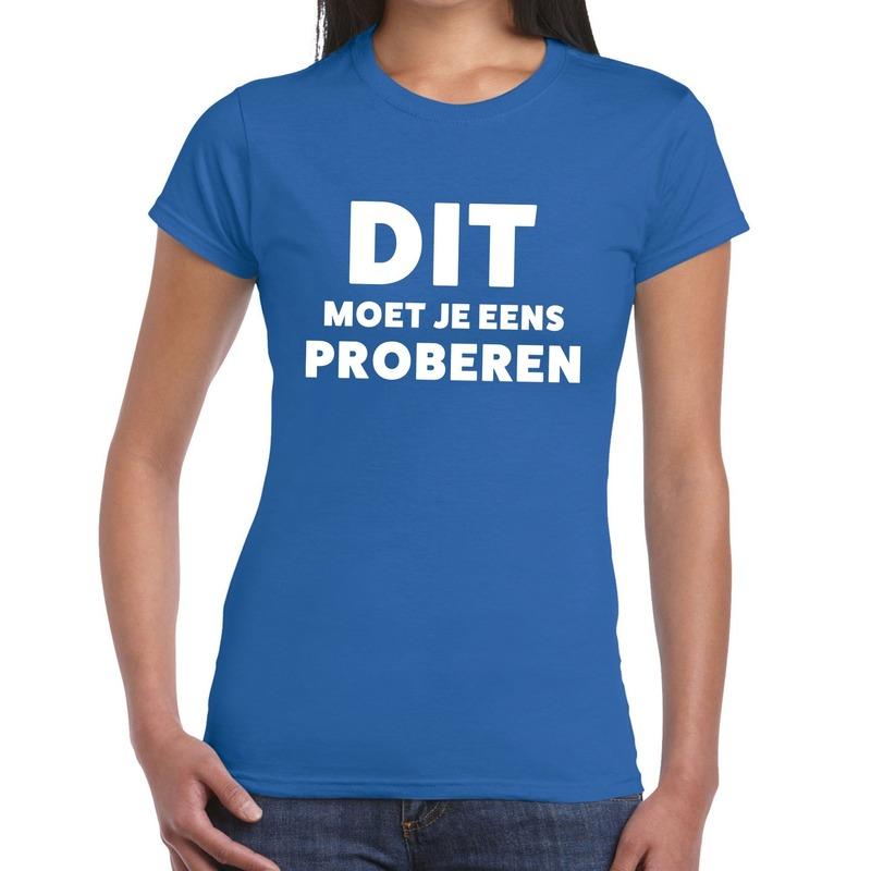 Dit moet je eens proberen beurs-evenementen t-shirt blauw dames