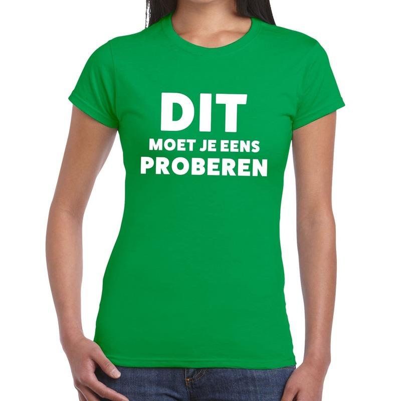 Dit moet je eens proberen beurs-evenementen t-shirt groen dames