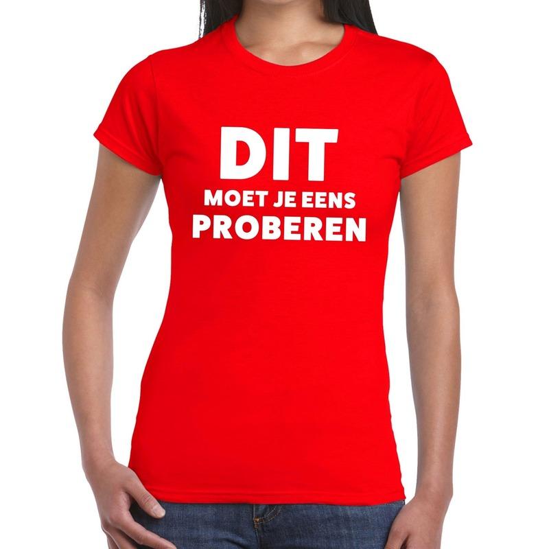 Dit moet je eens proberen beurs-evenementen t-shirt rood dames